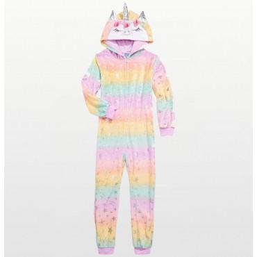 Max & Olivia - Girls Unicorn Angel Fleece Footless Onesie Pyjamas