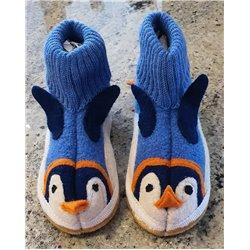 Haflinger - Boiled Wool Slippers - Blue Penguin