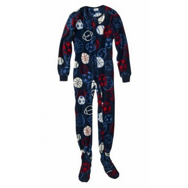 Boys - Navy Football Print  Fleece Onesie Pyjamas