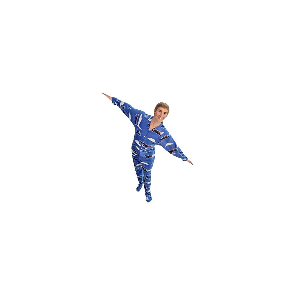 Adult - Fleece Onesie - Planes Print with Drop Seat