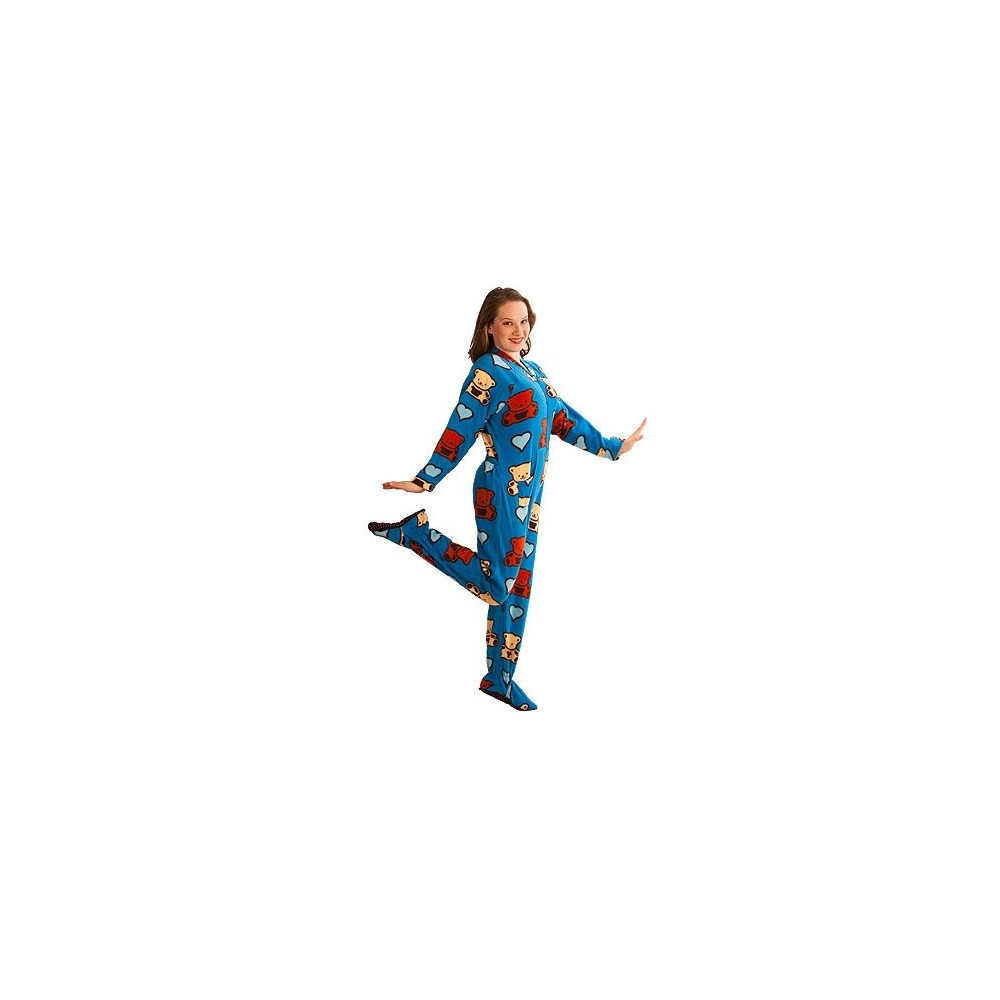 Adult - Fleece Onesie - Teddy Bears Print with Drop Seat