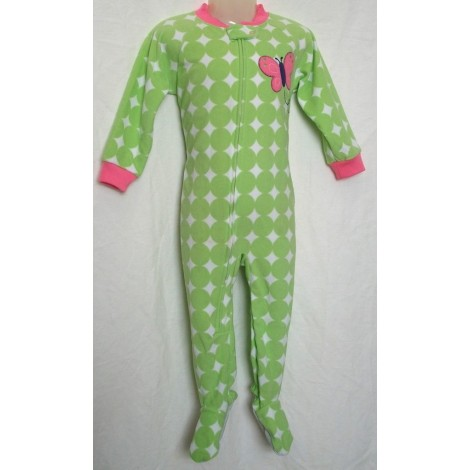 Carters - Girls Green Spots with Butterfly Microfleece Onesie Pyjamas
