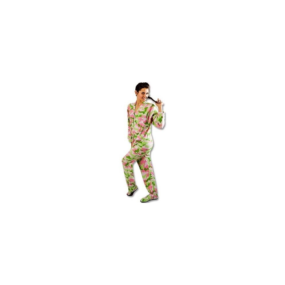 Adult - Fleece Onesie - Green & Pink Camo - No Drop Seat