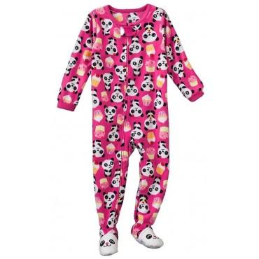 Carters - Girls Pink Panda Bear Microfleece Onesie Pyjama