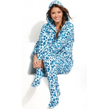 Jenni - Blue Leo Angel Fleece Hooded Footed Pyjamas