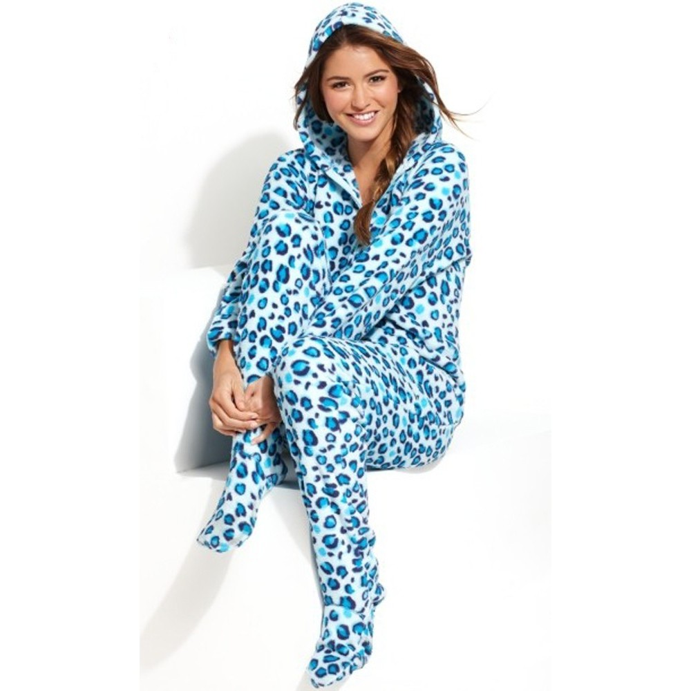 Blue Leo Angel Fleece Hooded Footed Pyjamas