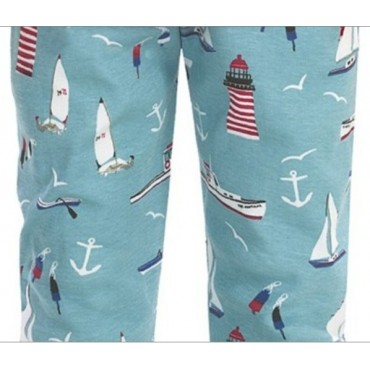 Boys Blue Footed Pyjamas - Rocketship