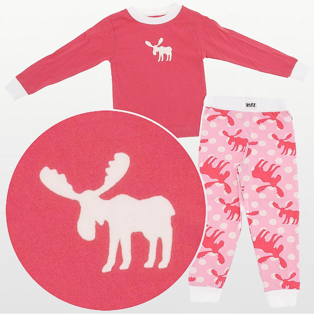 LazyOne - Girls Polka Dot Moose Pyjamas