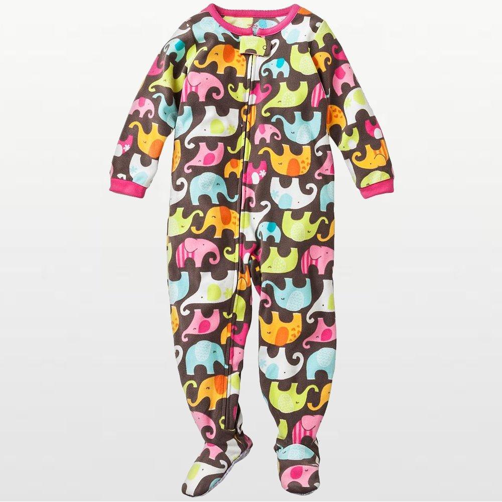 Carters - Girls Colorful Elephants Microfleece Onesie Pyjamas