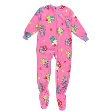 Girls - Pink Cupcakes Fleece Pajamas Onesie