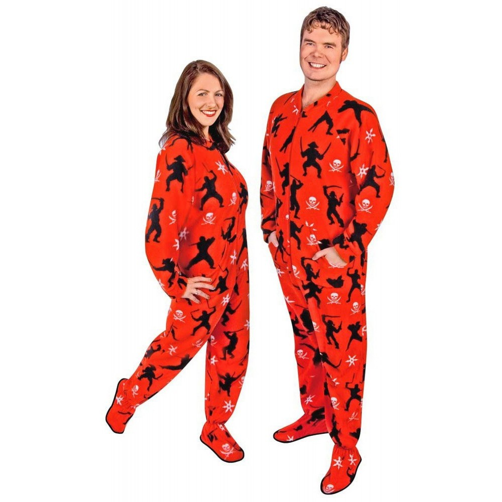 Adult - Fleece Onesie - Red Ninja Pirate Print with Drop Seat