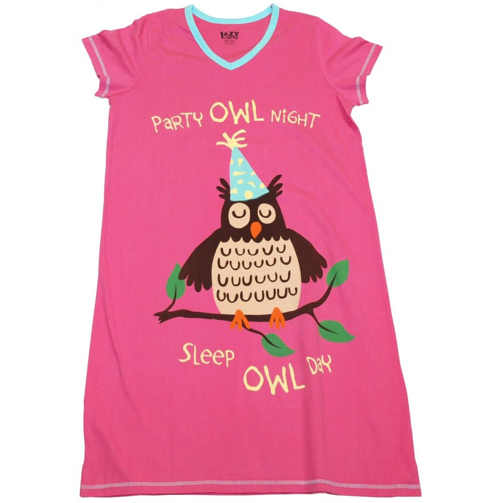 Womens - Party Owl V-Neck Nightshirt 100% Cotton