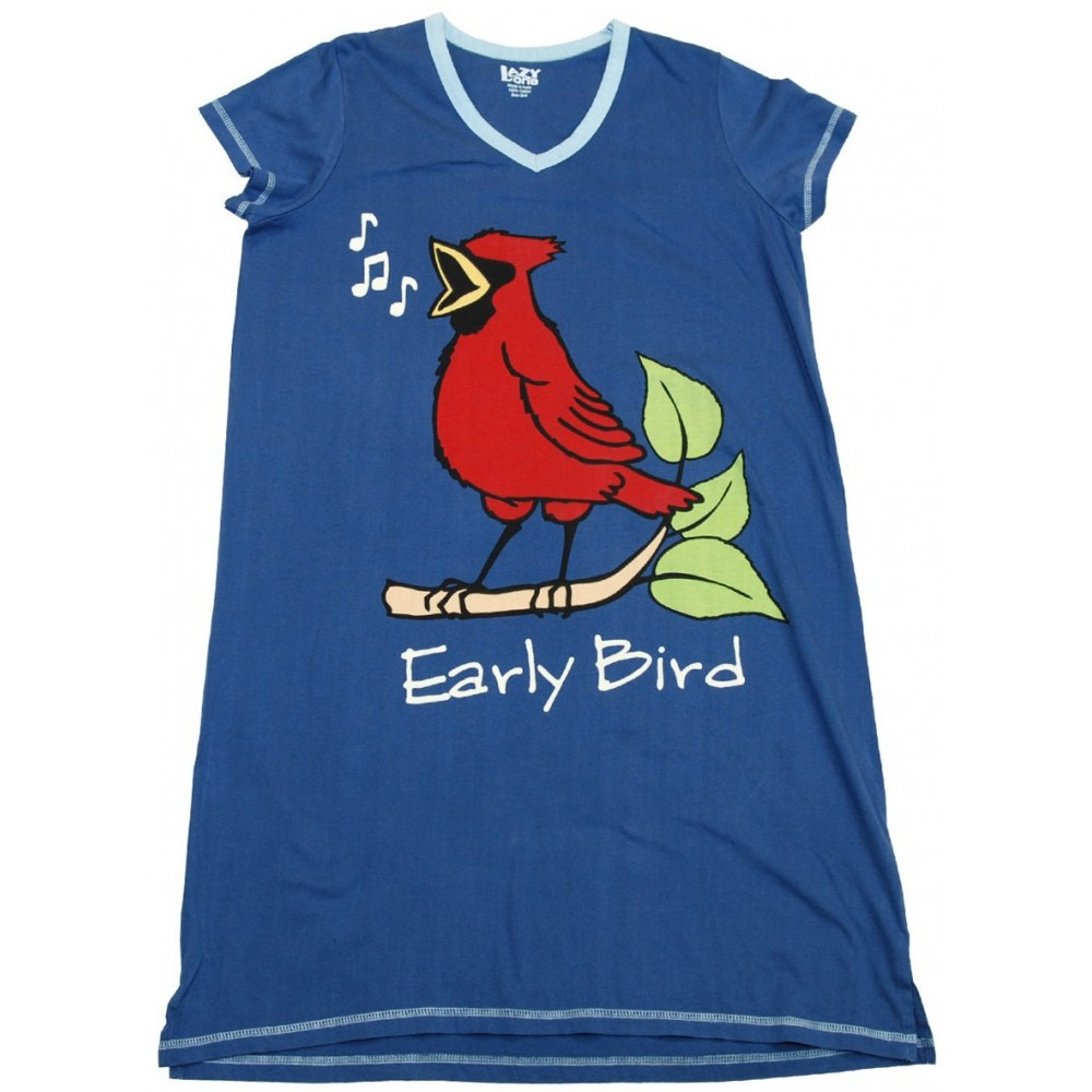 Womens - Blue Early Bird V-Neck Nightshirt 100% Cotton