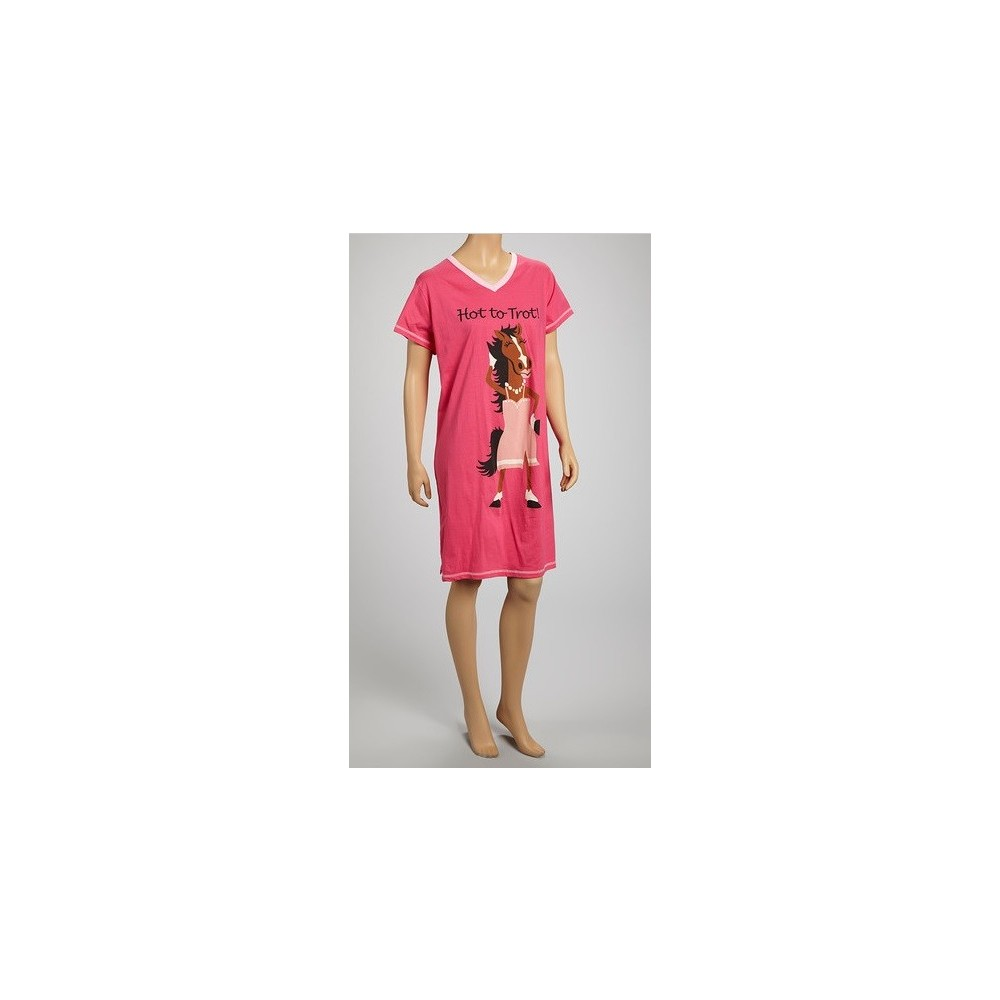 Womens - Pink Hot to Trot V-Neck Nightshirt 100% Cotton