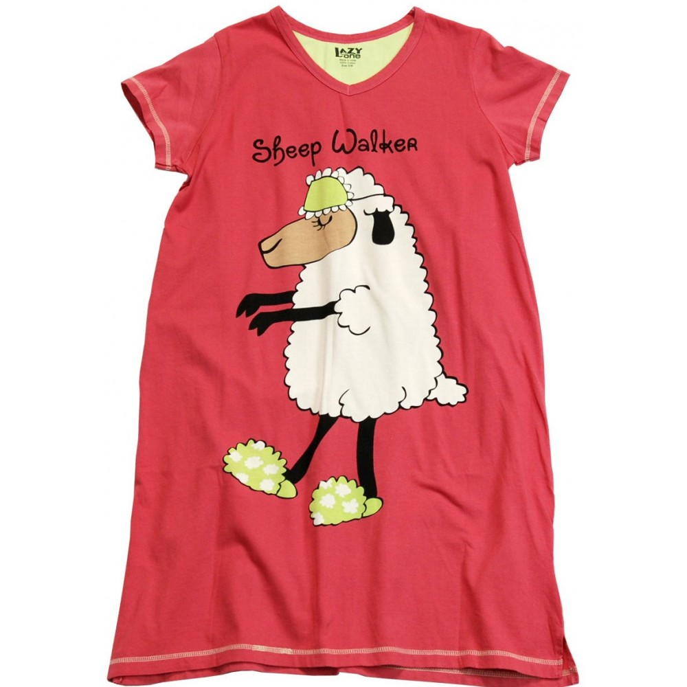 Womens - Sheep Walker V-Neck Nightshirt 100% Cotton