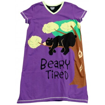 Womens - Bearly Tired V-Neck Nightshirt 100% Cotton