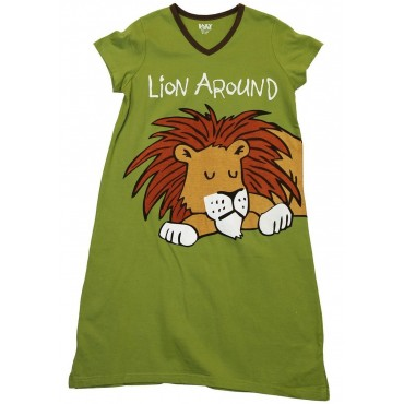 Womens - Lion Around V-Neck Nightshirt 100% Cotton