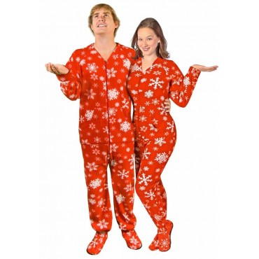 Adult - Fleece Onesie - Red Snowflake Print - Drop Seat