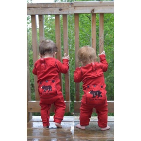 Babies - Red Bear Bottom Onesie Cotton Pj's