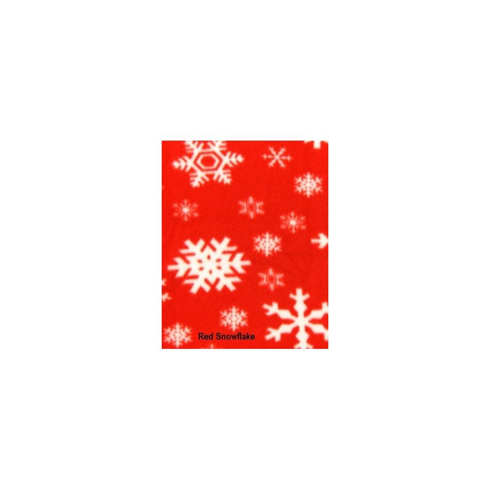 Adult - Fleece Onesie - Red Snowflake Print - Drop Seat
