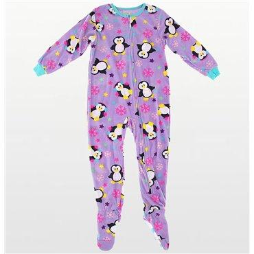 Komar Kids - Girls Fleece Footed Onesie in Mauve Penguins Print