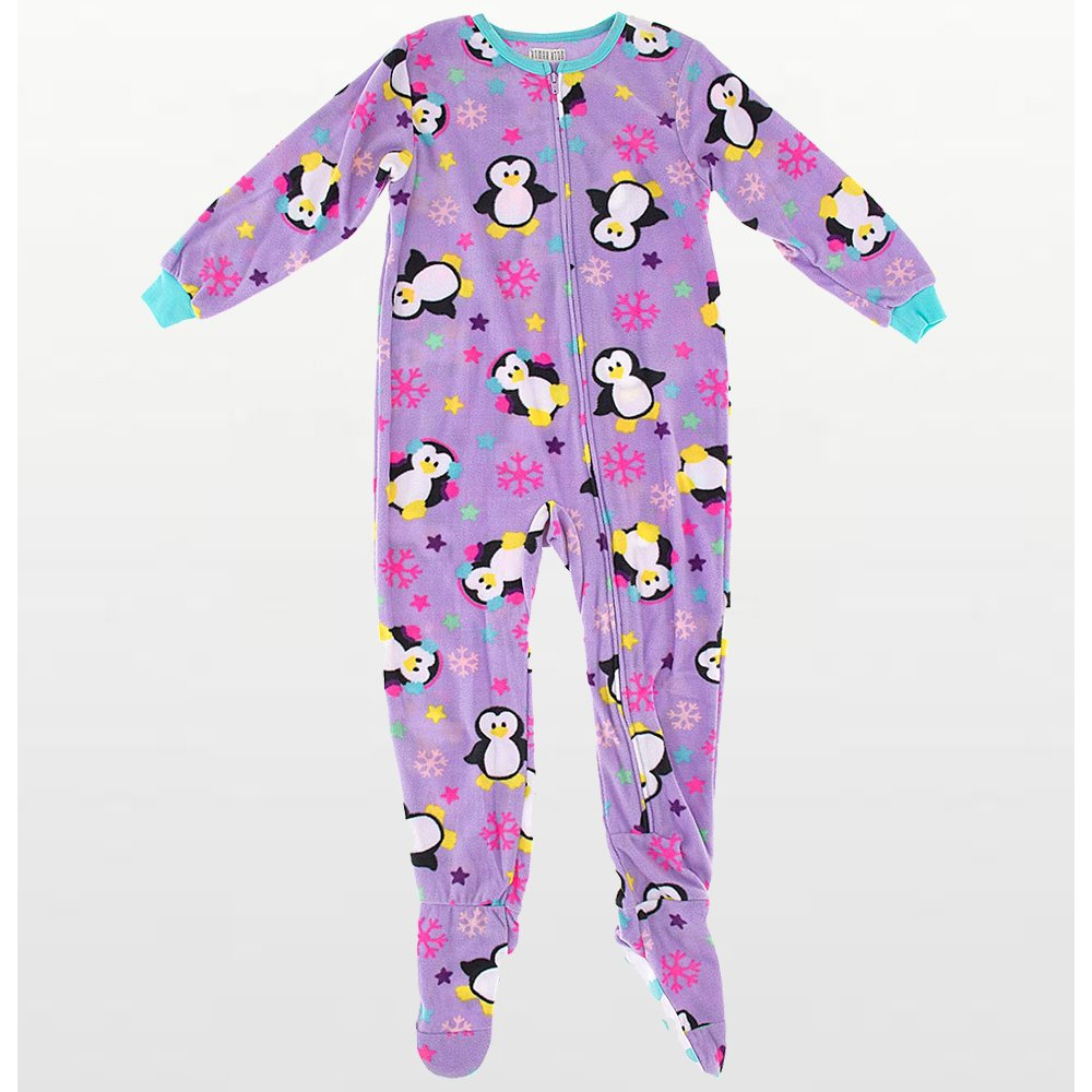 Girls - Onesie Footed Pyjamas - Purple Penguins