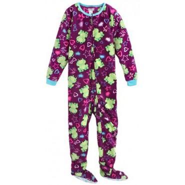Girls - Onesie Footed Pyjamas - Purple Frogs