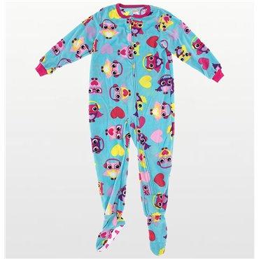 Purple Hearts Angel Fleece Hooded Footed Pyjamas