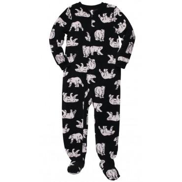 Fleece Footed Pyjamas Onesie with Hood - Zebra Kisses