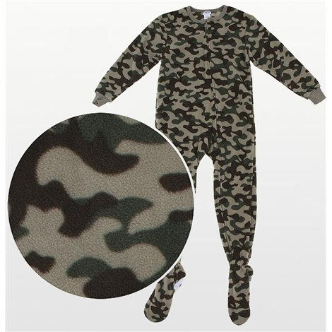 Boys -  Fleece Onesie Pyjamas - Green Camoflague Print