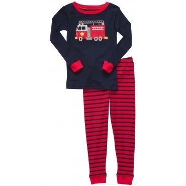 Carter's - Fire Truck Striped 2 piece Cotton Pyjamas
