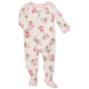 Carters - Girls Monkey Ballerina Microfleece Onesie Pyjamas
