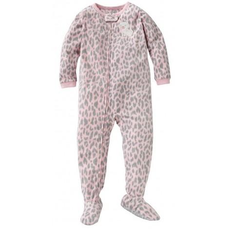 Carters - Girls Pink Kitty Cat Microfleece Onesie Pyjamas