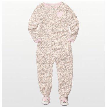 Carters - Girls Leopard Print Microfleece Onesie Pyjamas