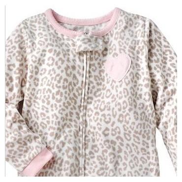 Carters - Girls Pink Leopard Print Microfleece Onesie Pyjamas