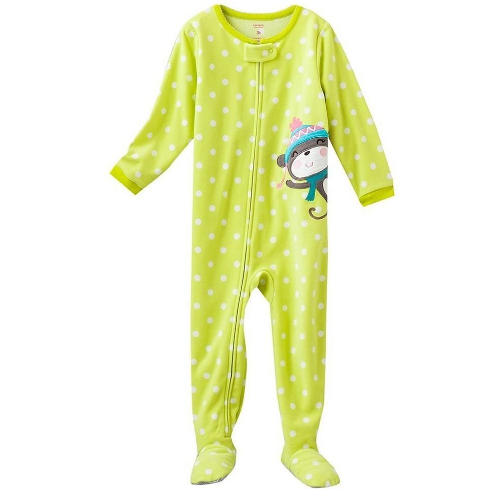 Carters - Girls Yellow Spotted Monkey Microfleece Onesie Pyjamas