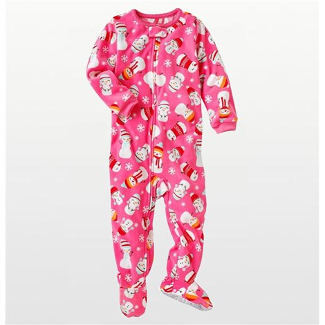 Carters - Girls Pink Snowgirl Microfleece Onesie Pyjamas
