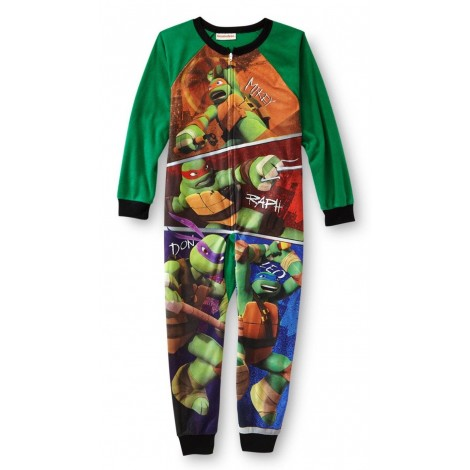 Boys - Fleece Footless Onesie Pjs - Teenage Mutant Ninja Turtles