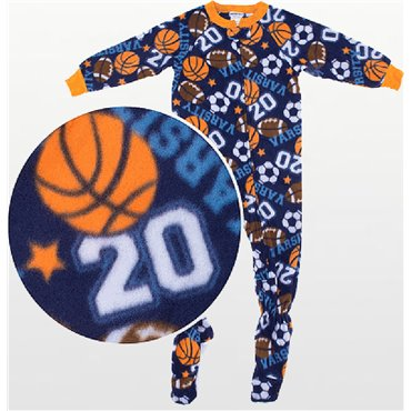 Boys - Fleece Footed Pyjamas with Football Pattern