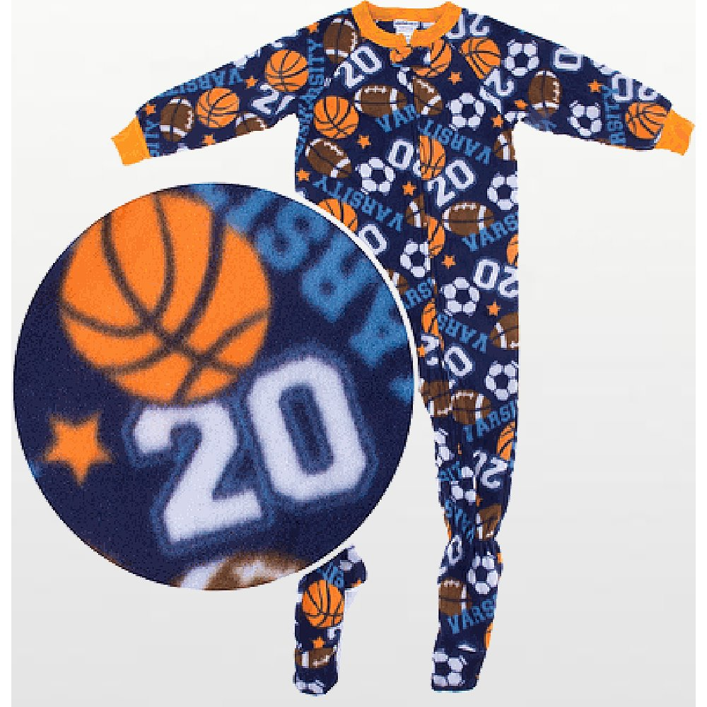 Boys - Fleece Footed Pyjamas with Football Pattern