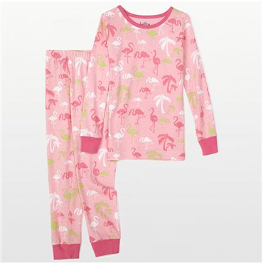 Hatley - Girls Pink Cotton Pyjamas in Flamingo Print