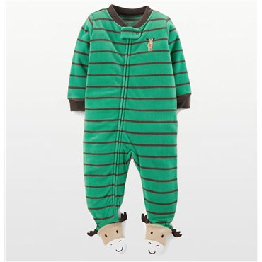 Carters - Boys Stripe Moose  Microfleece Onesie Pyjamas