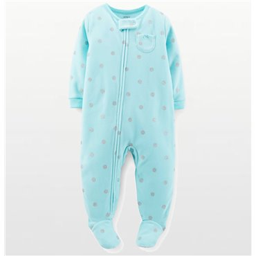 Carters - Girls Aqua and Silver Spotted Microfleece Onesie Pyjamas