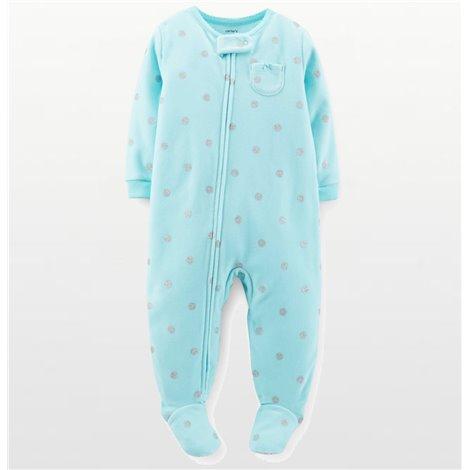 Carters - Girls Aqua and Silver Spotted Microfleece Onesie Pyjamas