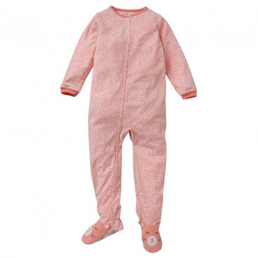Carters - Girls Coral Animal Print Microfleece Onesie Pyjamas