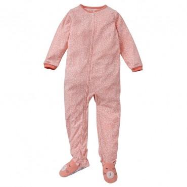 Carters - Girls Coral Animal Print Microfleece Onesie Pyjamas