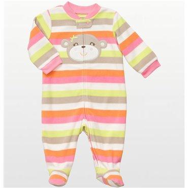 Carters - Girls Bear Striped Microfleece Onesie Pyjamas