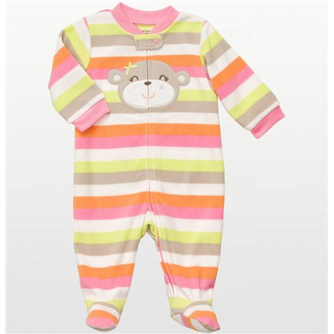 Carters - Girls Bear Striped Microfleece Onesie Pyjamas