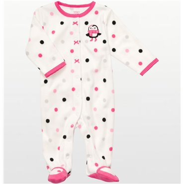 Carters - Girls White Polka Dotted Microfleece Onesie Pyjamas