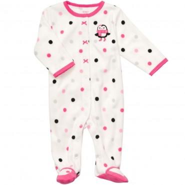 Carters - Girls White Polka Dotted Microfleece Onesie Pyjamas